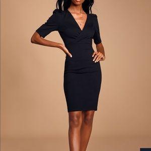 Black Midi c neck dress